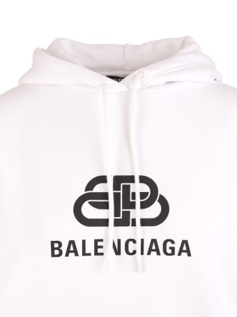 Balenciaga White New Bb Mode Hoodie