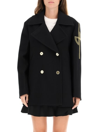 Patou Peacoat With Embroidered Logo