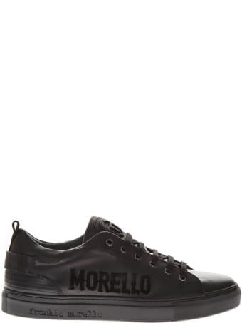Frankie Morello Black Leather Logo Sneakers