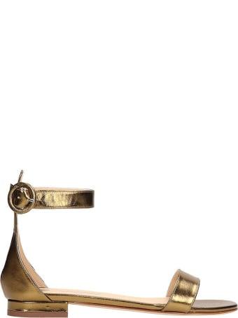 Fabio Rusconi Gold Leather Flats Sandals