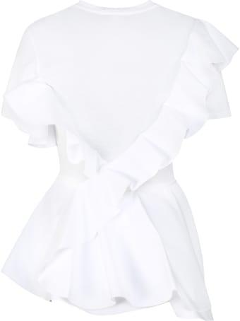 Alexander McQueen Asymmetric Ruffle Detail T-shirt