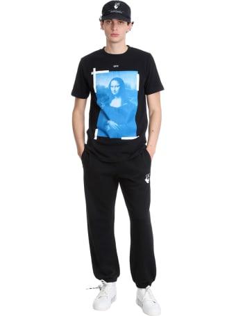 Off-White Blu Monalisa T-shirt In Black Cotton