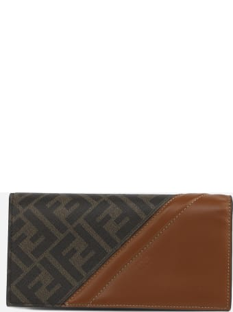 Fendi Continental Wallet With Fabric Insert With Ff Motif