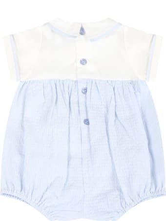 Armani Collezioni Light Blue Romper For Baby Boy With Logo