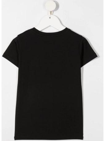 Moncler Kid Black T-shirt With Fuchsia Logo