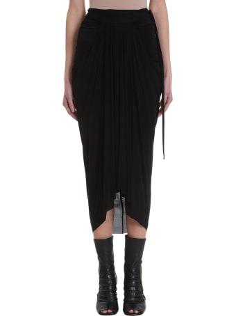 Rick Owens Lilies Black Draped Skirt