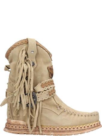 El Vaquero Arya Low Heels Ankle Boots In Beige Suede