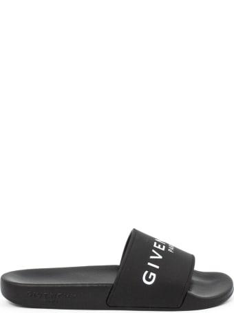 Givenchy Black And White Logo Print Sliders
