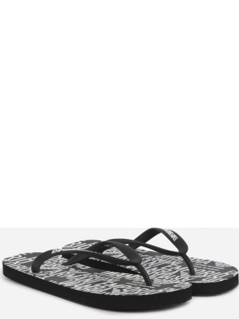 Emporio Armani Pvc Flip Flops With Contrasting Logo Print