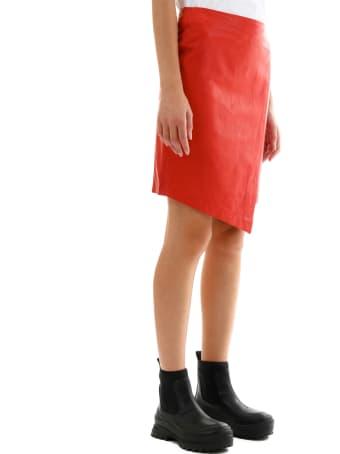 ARMA Leather Miniskirt Red