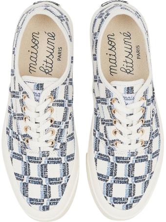 Maison Kitsuné All-over Rectangle Laced Canvas Sneaker
