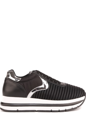 Voile Blanche Black And Silver Aprille Easy Sneakers In Technical Fabric And Leather