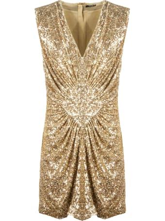 Balmain Short Dress With Golden Sequins