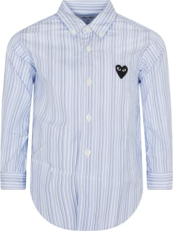 Comme des Garçons Play Light Blue And Blue Striped Shirt With Heart
