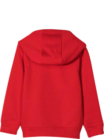 Givenchy Red Teen Sweatshirt With White Logo And Hood
