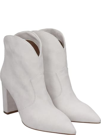 The Seller High Heels Ankle Boots In White Suede