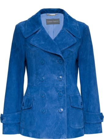 Alberta Ferretti Double-breasted Jacket In Blue Suede Leather
