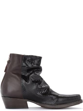 Moma Whiston Texan Ankle Boot Made Of Dark Brown Laser-cut Leather