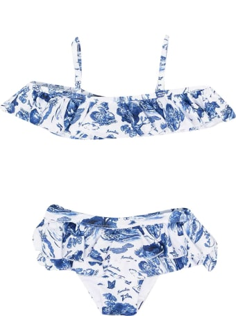 Monnalisa 2-piece White And Blue Swimsuit