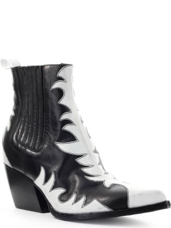 Elena Iachi Black White Leather Texan Ankle Boot