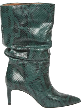 Paris Texas Dark Green Boot Snake Printed