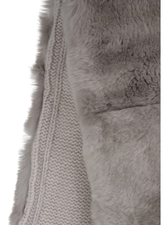 Fedeli Sand Woman Scarf With Lapin Fur