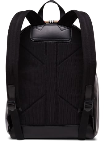Burberry Backpack With Logo And Striped Motif In Glossy Coated Canvas