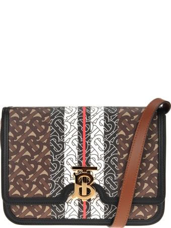 Burberry London Medium Tb Bag In E-canvas With Striped Monogram Print