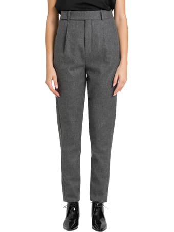 Saint Laurent High-rise Flannel Trousers With Darts