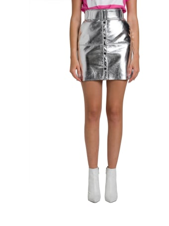MSGM Belated Mini Skirt With Central Buttoning And Belt