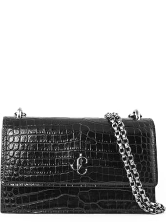 Jimmy Choo Black Croc-embossed Leather Clutch Bag