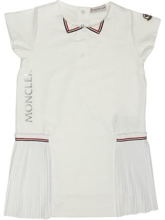 Moncler Short Dress In Cotton White