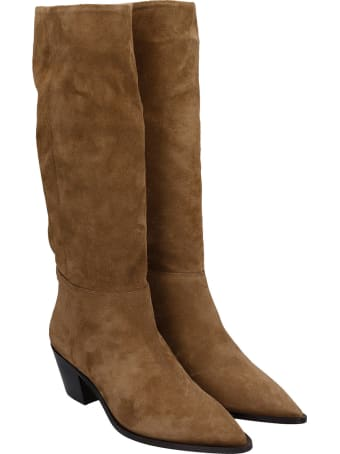 Julie Dee Low Heels Boots In Leather Color Suede