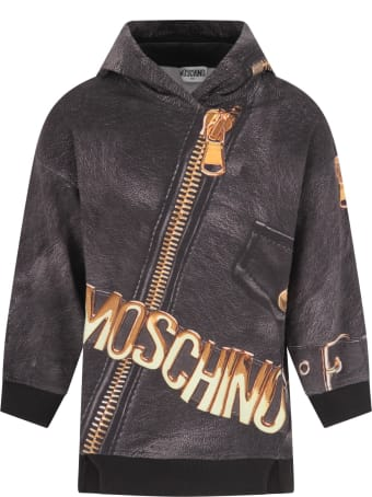 Moschino Grey Dress For Girl With Logo