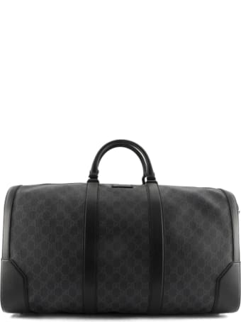 Gucci Black/grey Soft Gg Supreme Carry-on Duffle