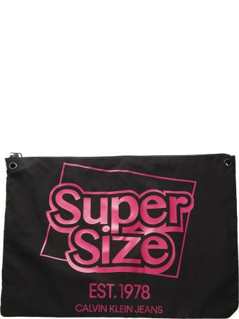 Calvin Klein Jeans Logo Shoulder Bag In Black Technical Fabric
