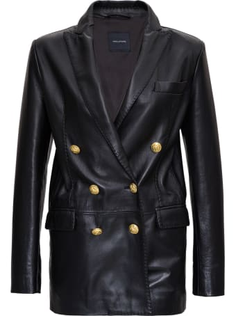 Tagliatore Double Breasted Blazer In Learther With Gold-tone Buttons