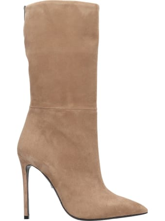 Grey Mer Ankle Boots In Beige Suede