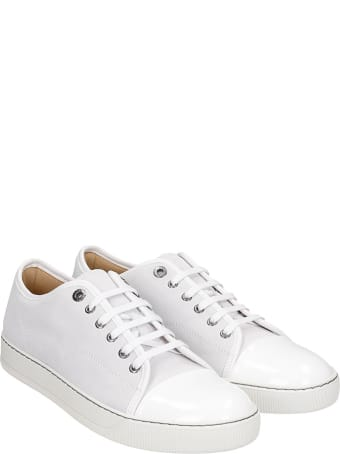 Lanvin Dbb1 Sneakers In White Suede And Leather