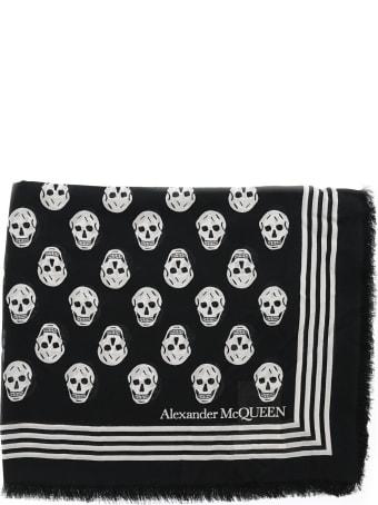 Alexander McQueen Ca Biker Skull Print Scarf
