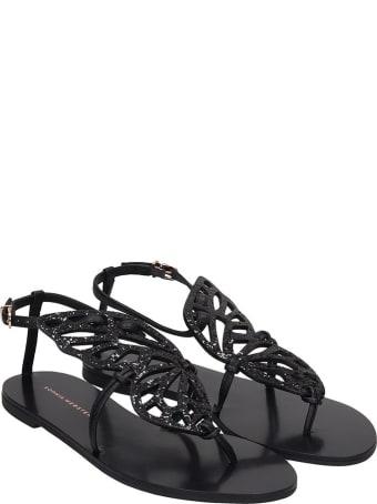 Sophia Webster Butterfly Flats In Black Leather