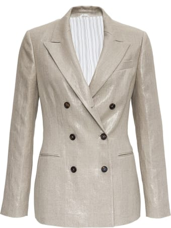 Brunello Cucinelli Double-breasted Linen Blazer
