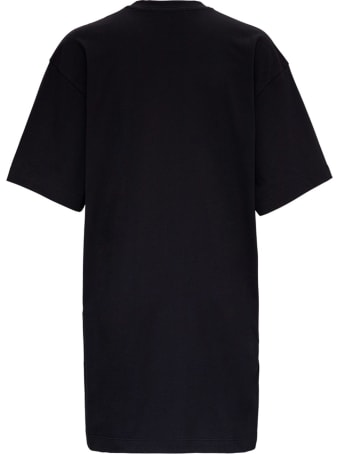 MSGM Black Jersey Dress With Floral Print