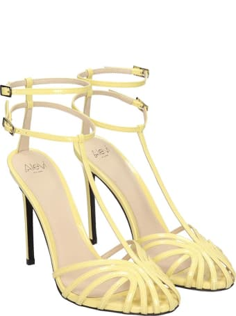 Alevi Stella 110 Sandals In Yellow Patent Leather