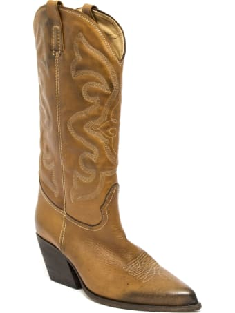 Strategia Texan Boot In Brown Leather