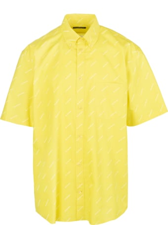 Balenciaga Yellow Shirt With White All-over Logo