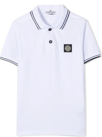 Stone Island White Cotton Polo Shirt
