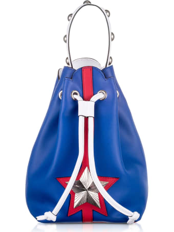 Les Jeunes Etoiles Blue And Red Leather Vega Bucket Bag