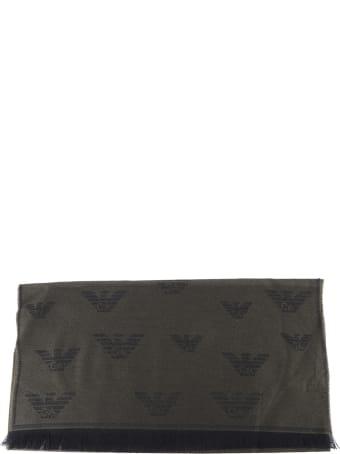 Emporio Armani Monogram Scarf In Wool Blend
