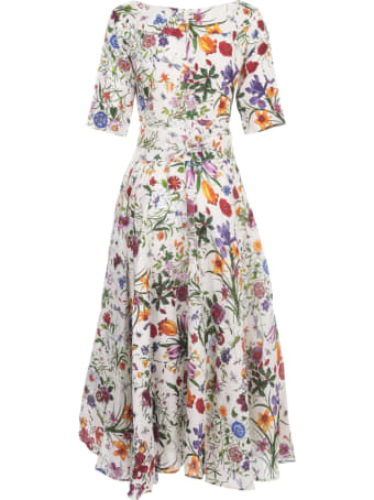 Samantha Sung Aster Linen Midi Dress S/s Boat Neck